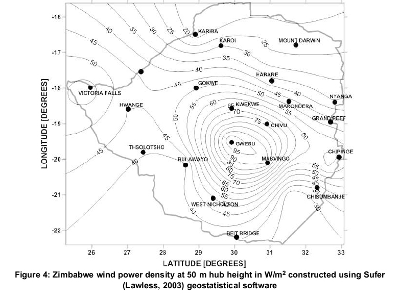 Mapping wind power density for Zimbabwe: a suitable Weibull