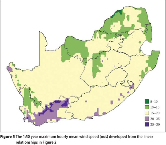 Strong winds in South Africa: Part 2 Mapping of updated statistics