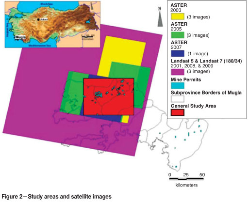 Remote sensing in management of mining land and proximate