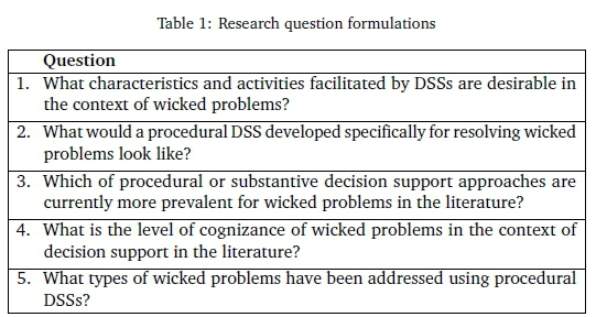 Exploring Procedural Decision Support Systems For Wicked Problem