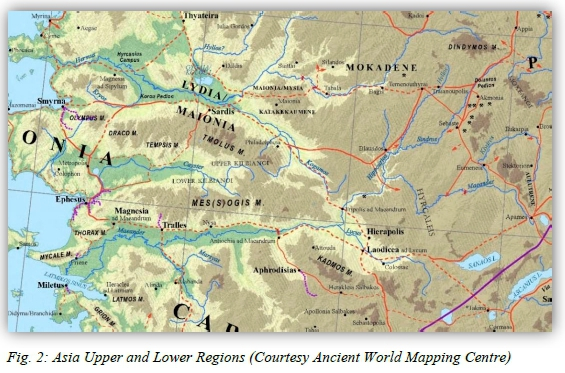 Map Of Upper Asia.The Upper Regions And The Route Of Paul S Third Journey From